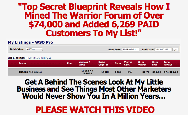gm1 Warrior Gold Miner Over $74,000 Plus 6,269 Paid Customers wso affiliate marketing