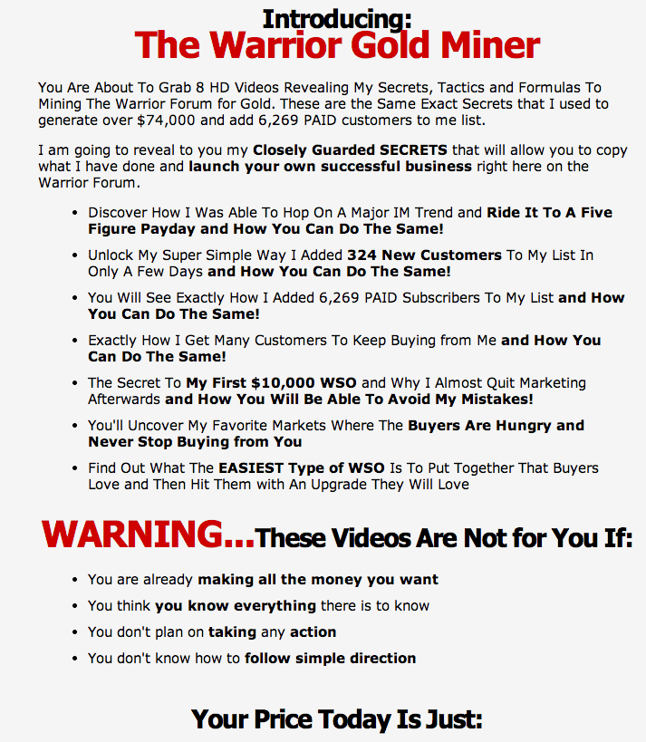 gm2 Warrior Gold Miner Over $74,000 Plus 6,269 Paid Customers wso affiliate marketing