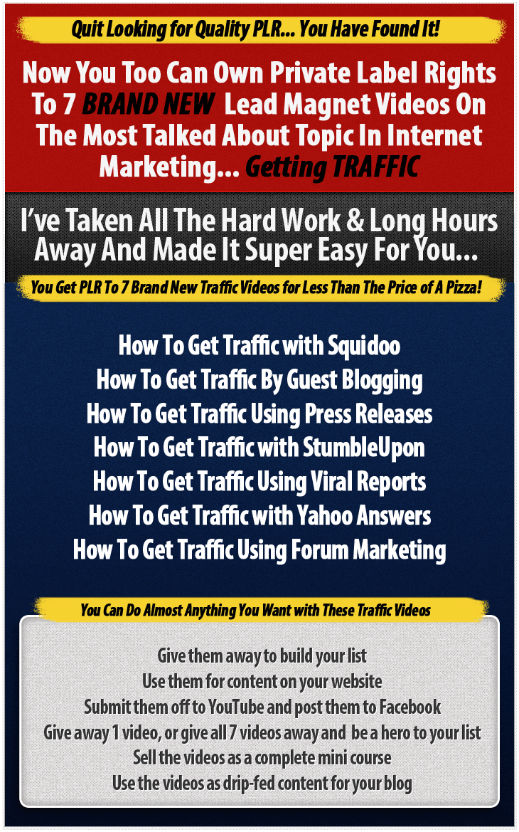 Brand New PLR Videos On Getting Traffic